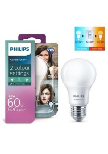 Philips E27 LED-lamp SceneSwitch 9.5w (60w) 2 kleurstanden