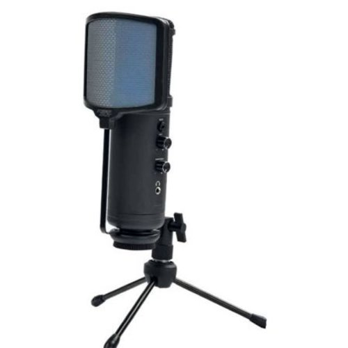 KEEP OUT MICROPHONE GAMING LED LIGHTING - TRIPOD + POP FILTER + WINDSCREEN METALLIC - USB CABLE