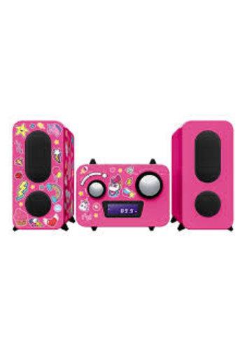Bigben Roboter Radio / CD Player Pink 350 Einhorn / Einhorn Sticker -