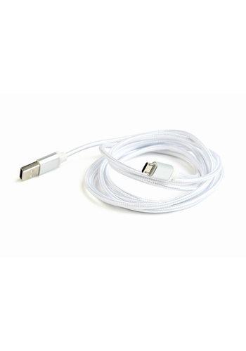 Cablexpert Micro-USB kabel katoen, 1.8 meter zilver, Blister