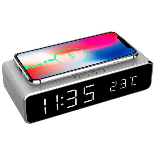 Gembird Digitale wekker met draadloze laadfunctie voor smartphone