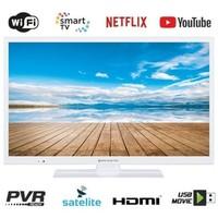 Smart TV LED WIFI HD READY 24 pouces, blanc