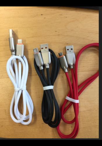 Cablexpert Premium 8-pin laad- & datakabel 'rubber', 1 m, zwart