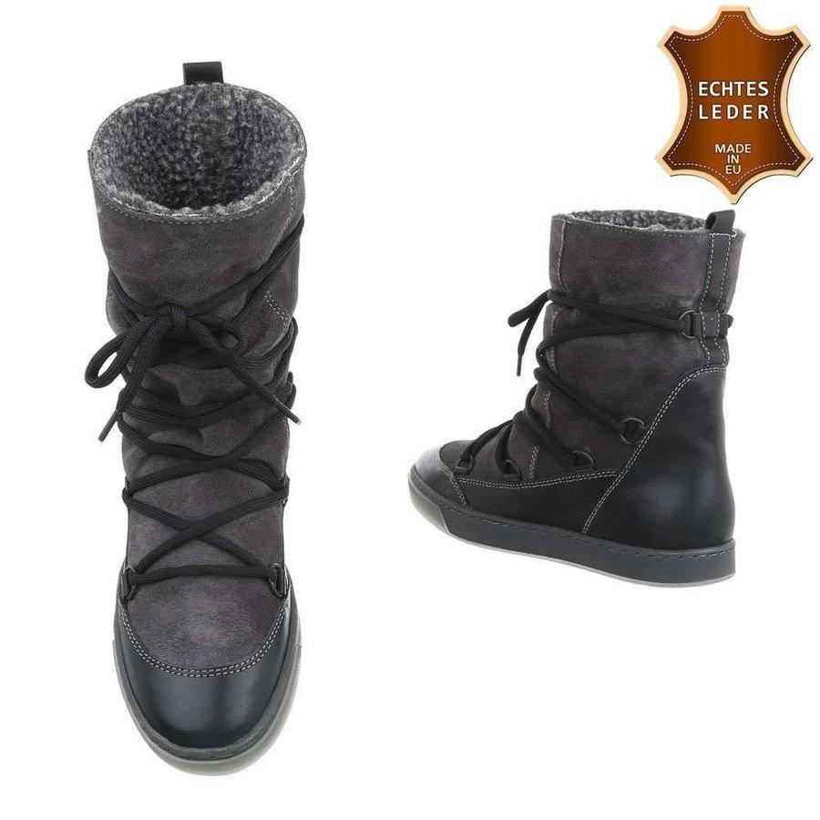 Chaussures décontractées en cuir pour dames noir 2220