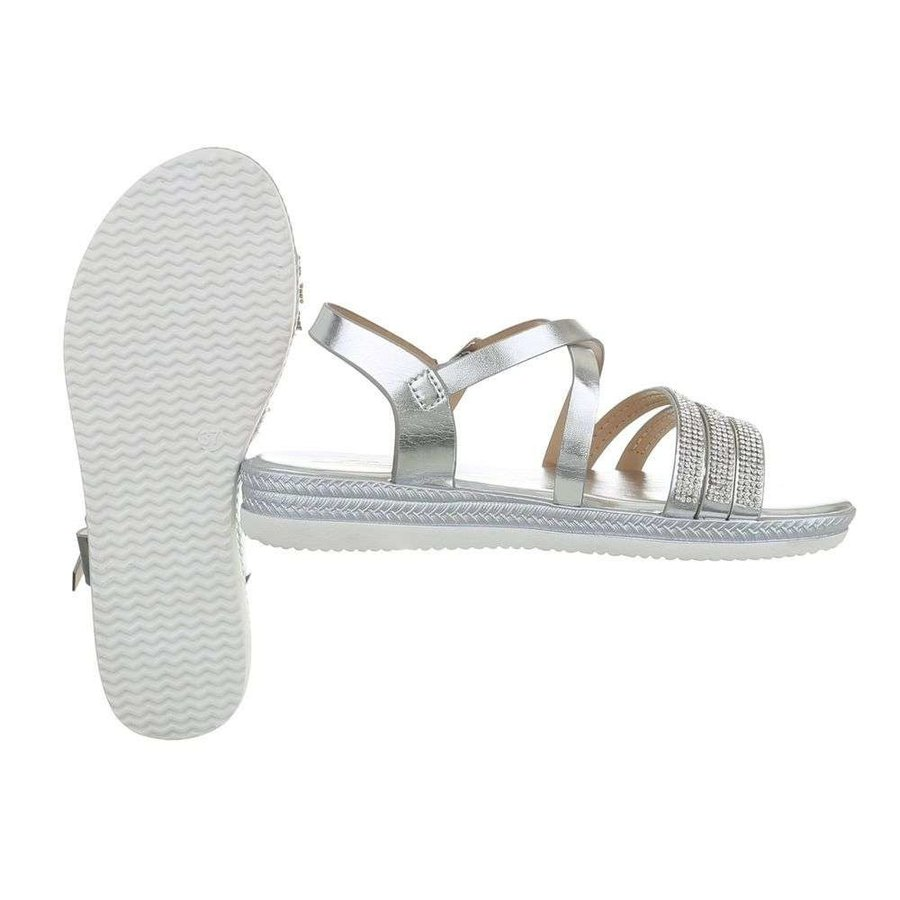 Dames flash sandalen zilver D-120