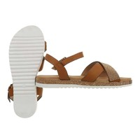 Dames flash sandalen camel D-116
