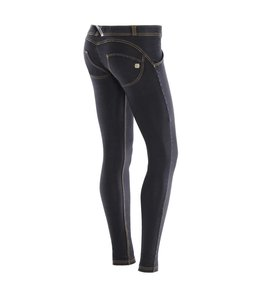 WR.UP® WR.UP® LOW RISE IN DARK STRETCH DENIM, BLACK WITH YELLOW SEAMS
