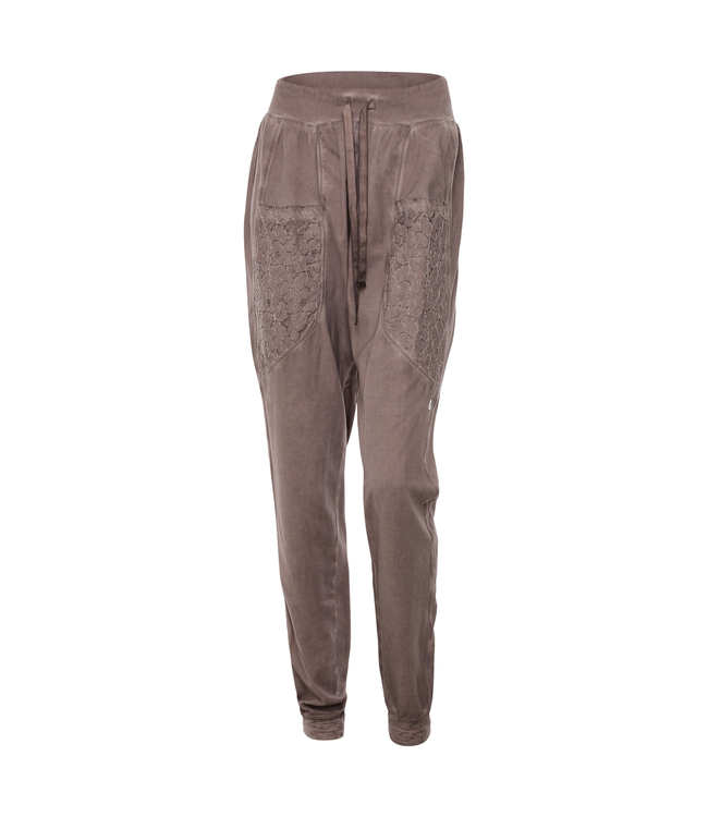 Academy Woman GARMENT-DYED JERSEY TROUSERS WITH POCKETS AND LACE HEMS