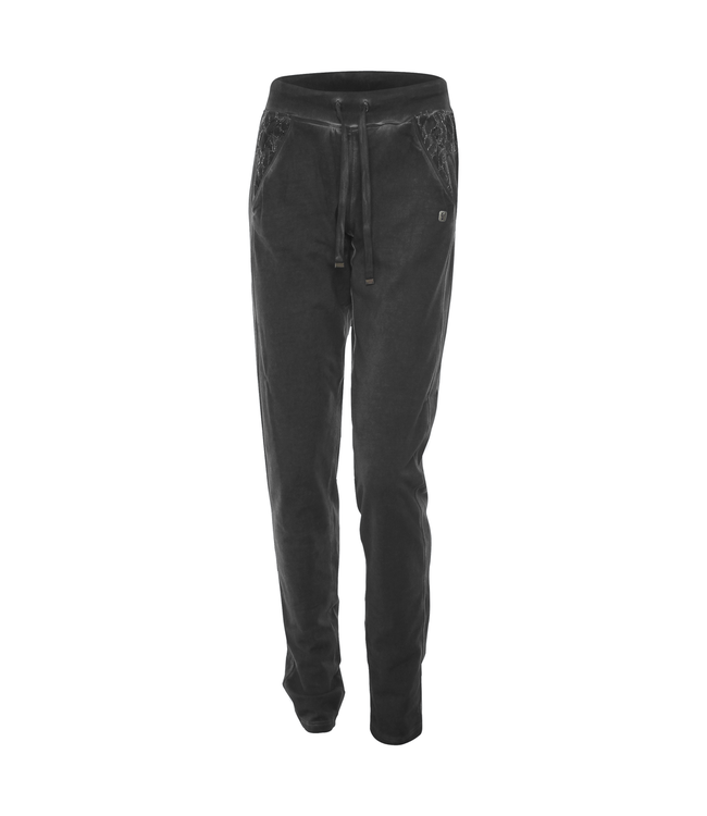 Academy Woman GARMENT-DYED JERSEY TROUSERS WITH LACE INSERTS