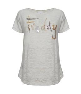 Academy Woman OPEN-BACK T-SHIRT WITH GLITTER LETTERING AND SEQUINS