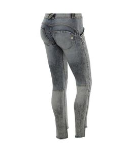 WR.UP® WR.UP® Acid-washed denim, with fringed hems and embroidery