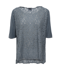 Academy Woman GARMENT-DYED LACE T-SHIRT WITH SLITS AT THE HEM