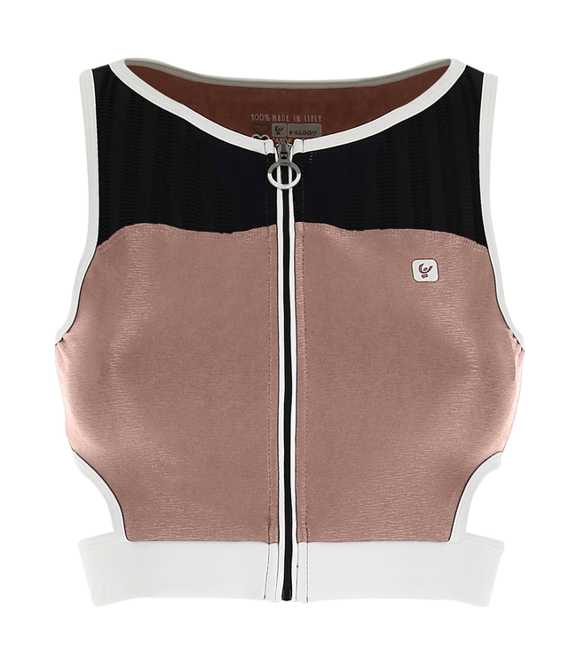 TOP SHINY JERSEY ZIP-FRONT TOP WITH OPALESCENT INSERTS - 100% MADE IN ITALY