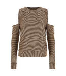 Sweat Top SWEATSHIRT WITH GOLD LUREX MICRO STRIPES - 100% MADE IN ITALY