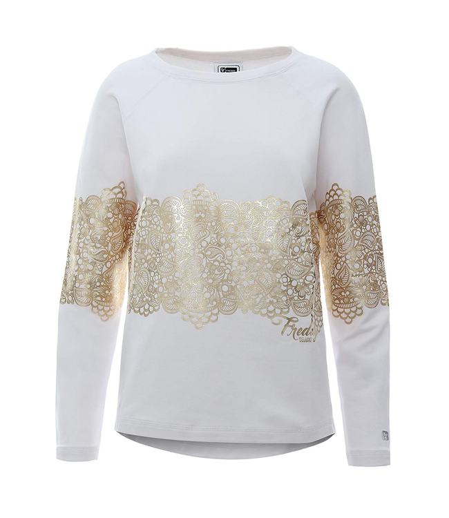 Sweat Top SWEATSHIRT WITH MAXI GOLD-COLOURED PRINT ON FRONT AND SLEEVES