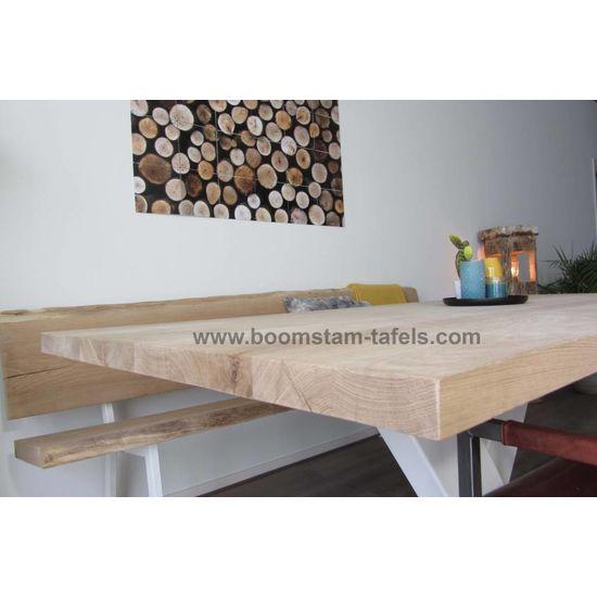 Eiken tafelblad 220x100 (rechte rand)