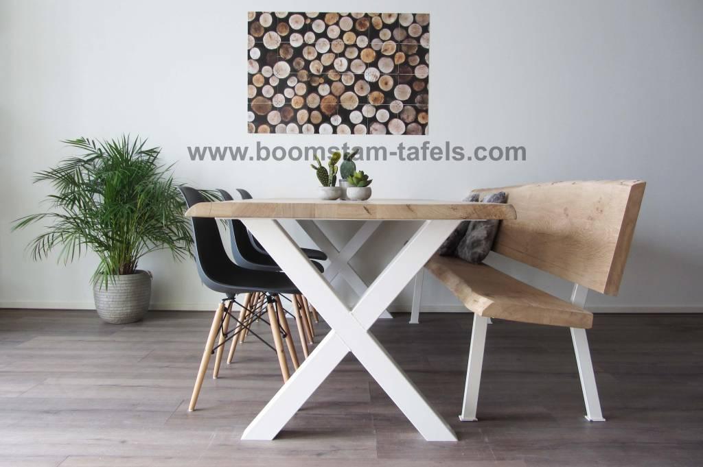Boomtafel Te Koop.Robuuste Boomstamtafel Met Metalen Witte X Tafelpoten
