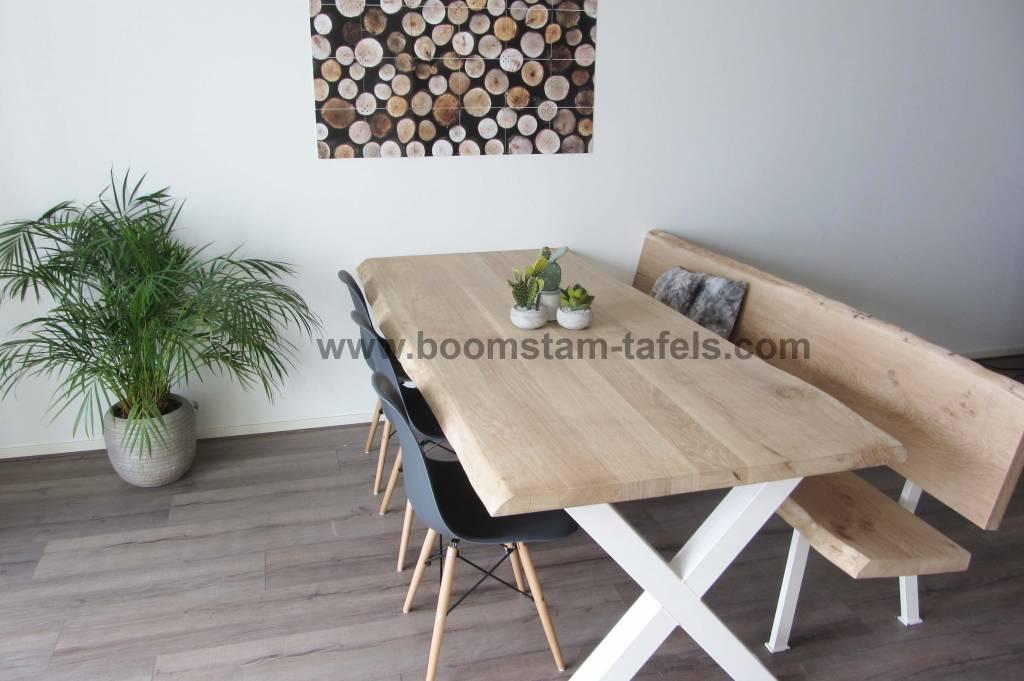 Boomtafel Te Koop.Robuuste Boomstamtafel Met Metalen Witte X Tafelpoten Boomstam Tafels