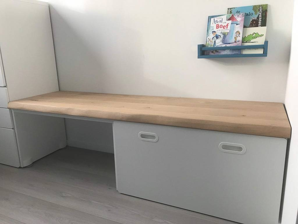 Ikea Stuva Bureau.Stuva Kindermeubel Bureau Eikenhouten Plank Boomstam Tafels