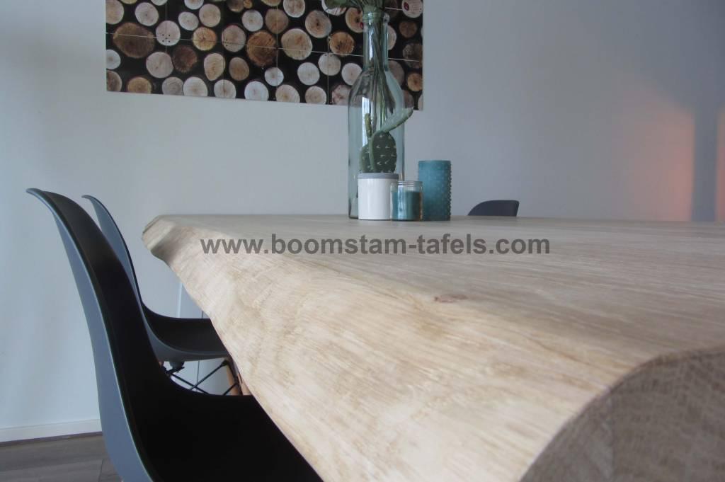 Eiken tafelblad 280x100 (Boomstamrand)