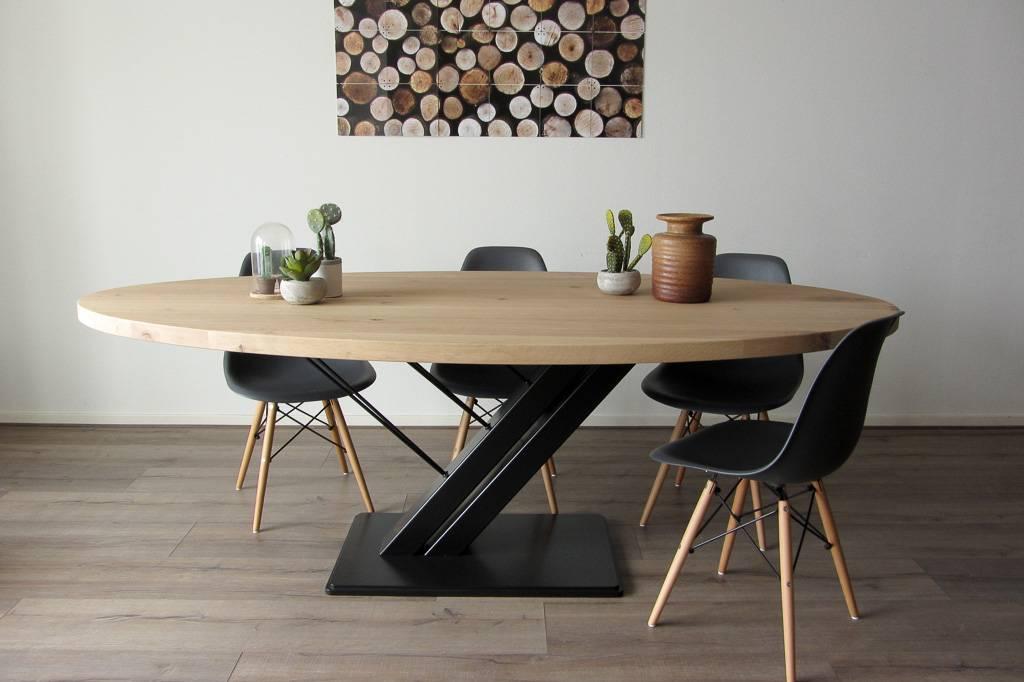 Ovale tafel met stalen design tafelonderstel zwarte Harp ...