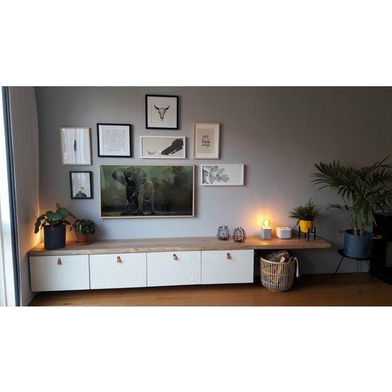 Besta tv meubel eikenhouten plank