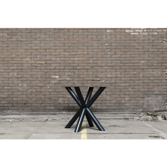 Dubbele kruispoot ronde buis zwart