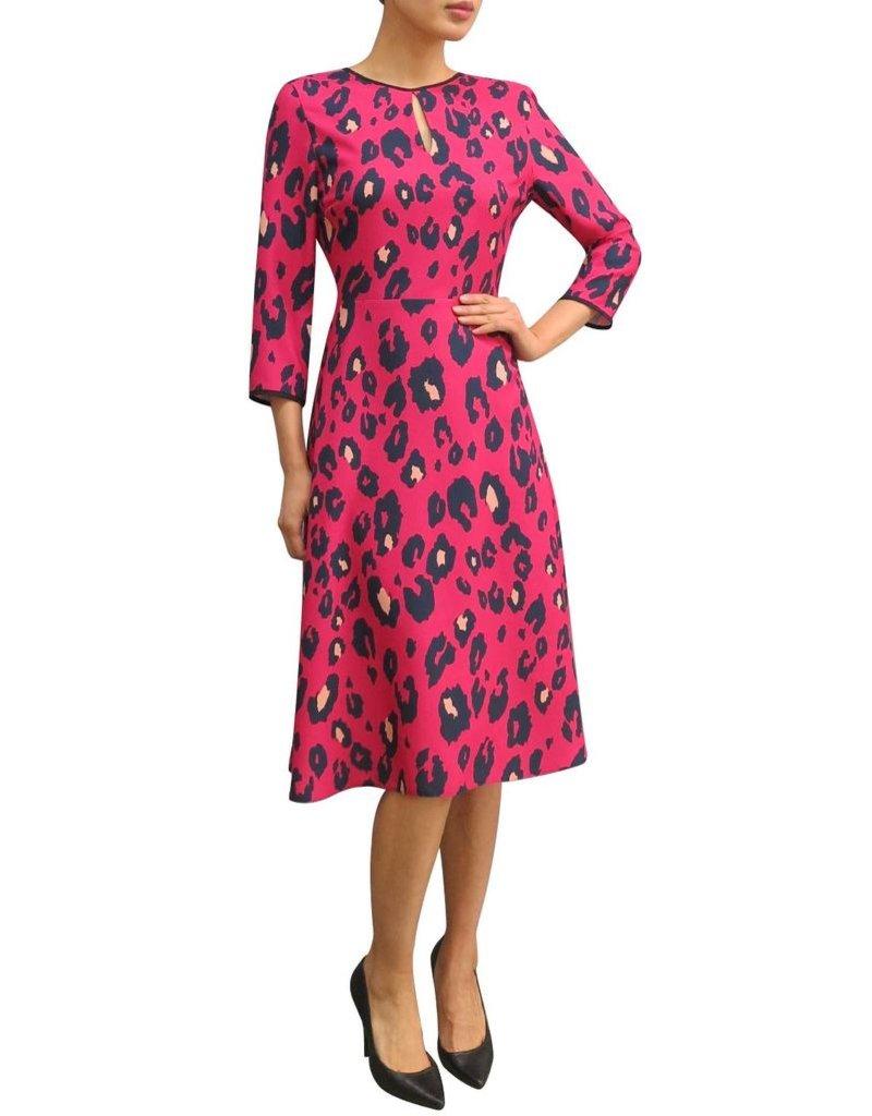Fee G Fee-G Long Sleeve Animal Print, Cut Back Dress