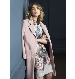 Fee G Flower Placement Dress Leatherette Collar
