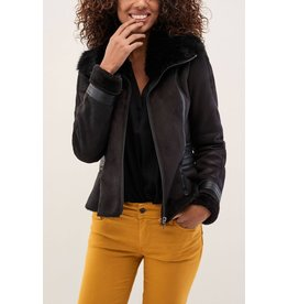 Salsa Jeans Jacket with Fur & Zip