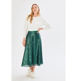 Exquise Bottle Green Pleat Skirt