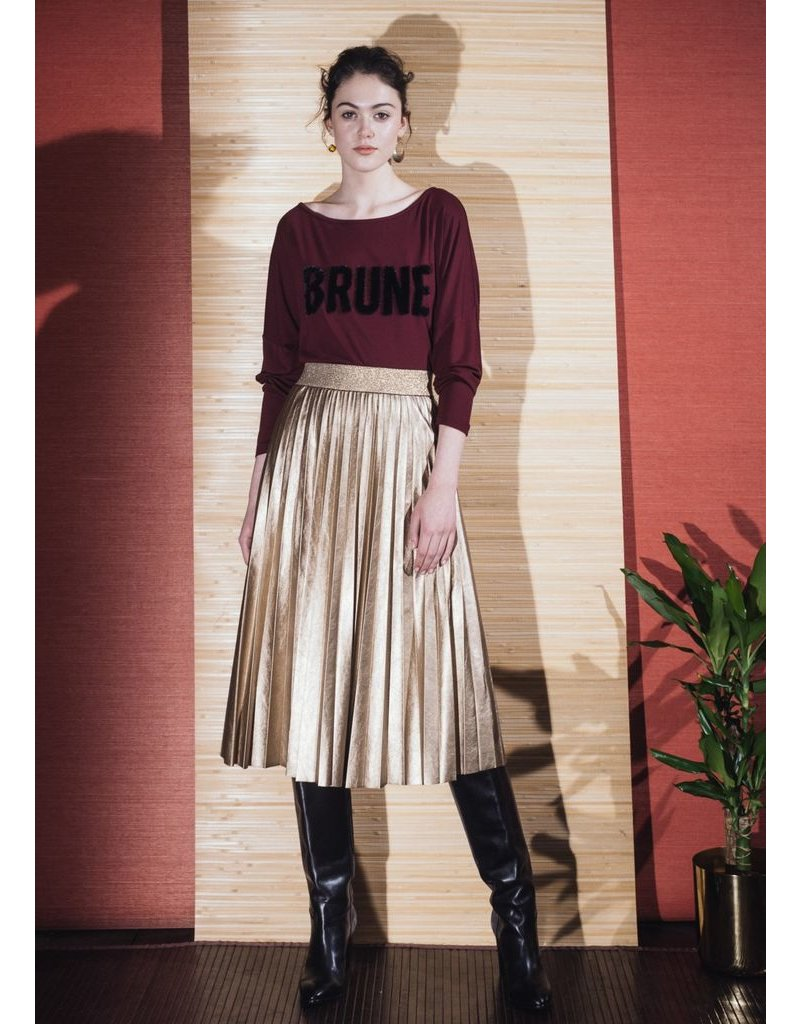 La Fee Maraboutee Gold Faux Leather Pleated Skirt
