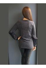 Peruzzi Long Sleeved Grey Knit Top