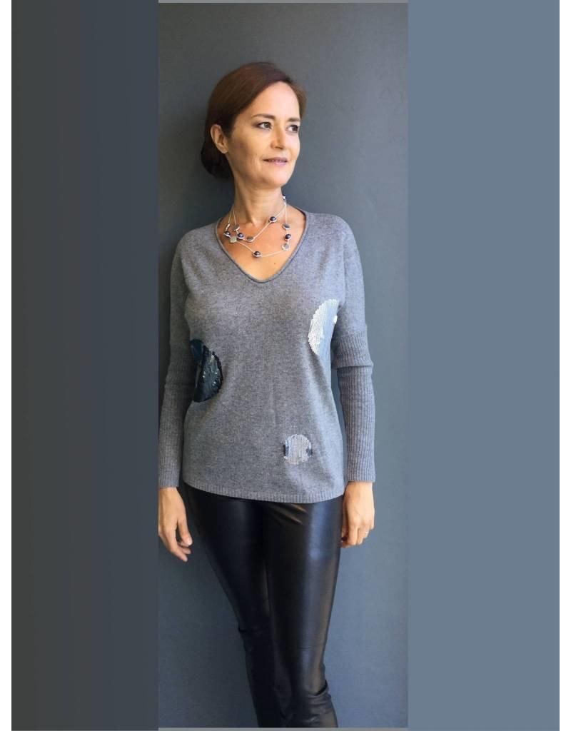 Peruzzi Grey  Sequin Spot Knit