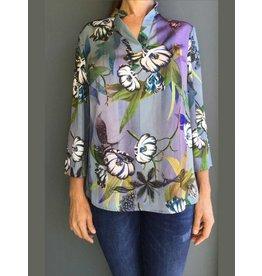 Peruzzi Floral Print Blue Shirt