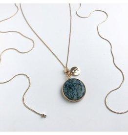 Bcharmd Novak Emerald Green Agate Necklace Gold