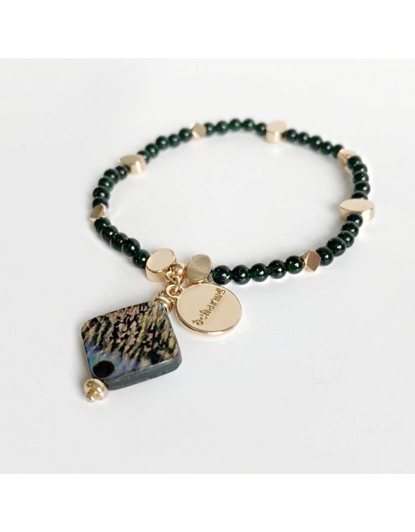 Bcharmd Adrienne Green Sandstone Abalone Seashell Bracelet Gold