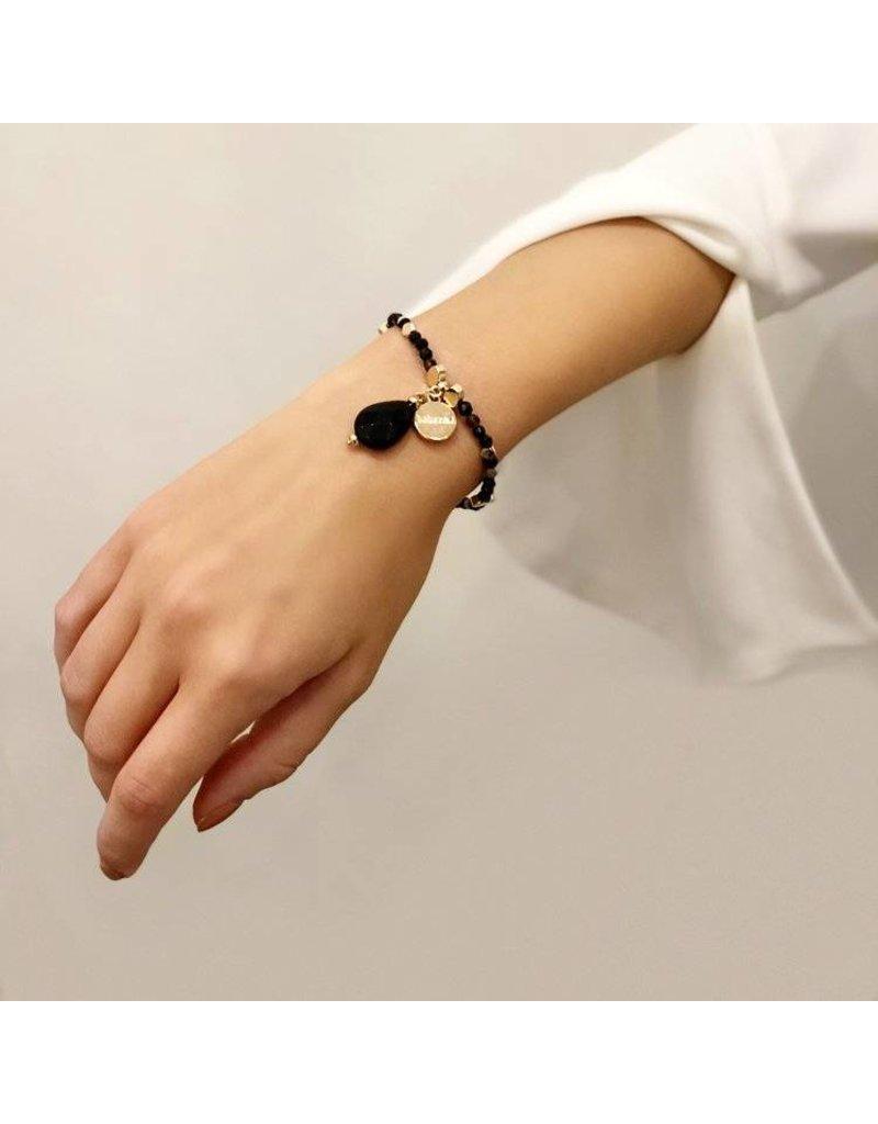 Bcharmd Adrienne Black Agate Bracelet Gold