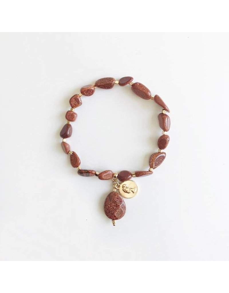 Bcharmd Lucy Caramel Brown Sandstone Bracelet Gold