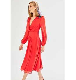 Exquise Low V-Neck Red Dress