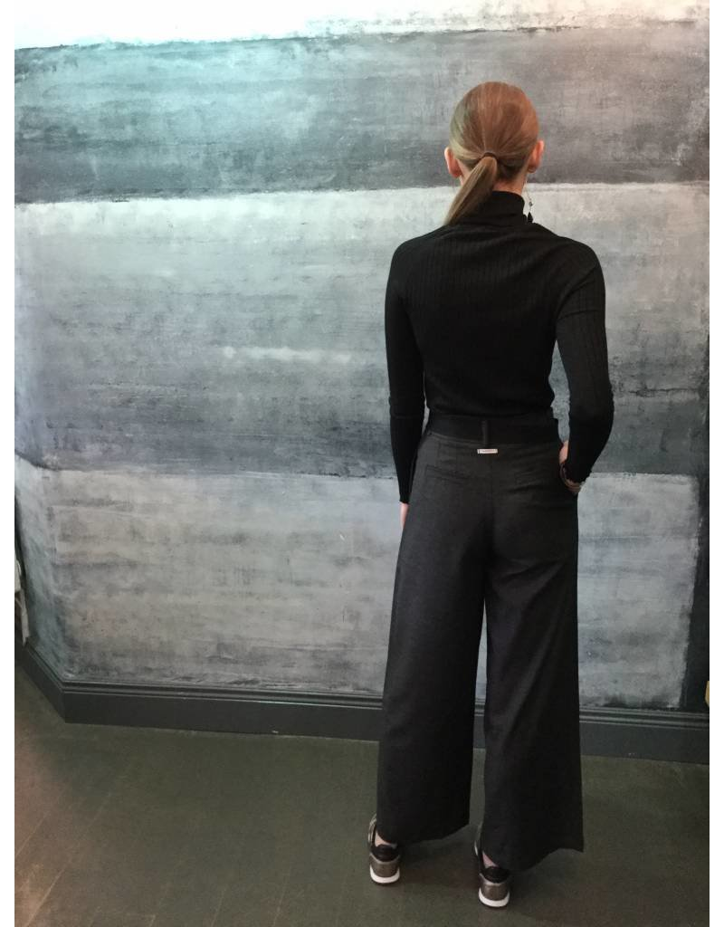 Humility Grey Pleated Trousers with Ribbon Tie Belt
