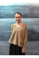 Humility V-Neck Camel Knit Jumper with Rib Sleeves