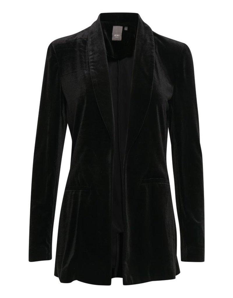 ICHI Velvet Long Black Blazer