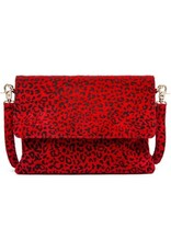 Depeche Red Leopard Print Clutch bag