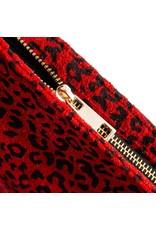 Depeche Small Red Leopard Print Clutch bag