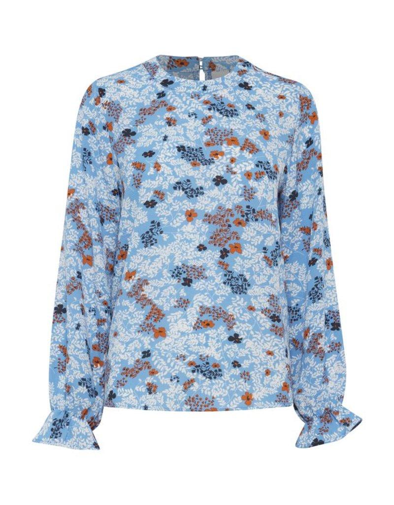 ICHI Blue Floral Print Bundi Long Sleeve Top
