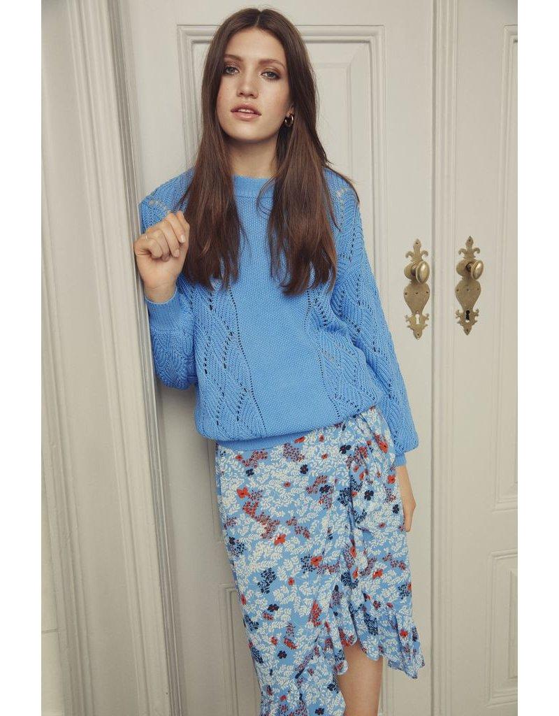 ICHI Bundi Blue Floral Print Skirt