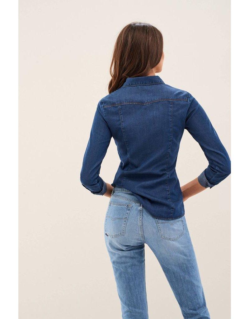 Salsa Jeans Buttoned Blue Denim Shirt