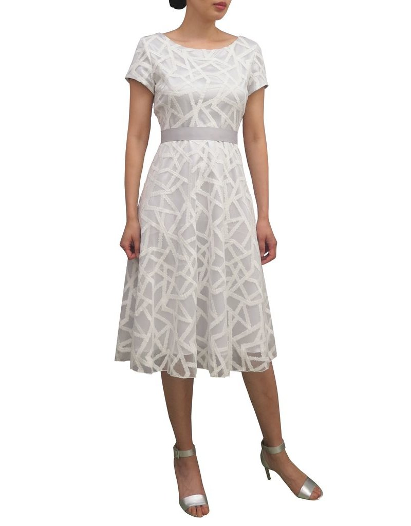 Fee G Cap Sleeved Embroidered Overlay Dress