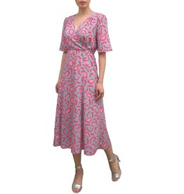 Fee G Pink Midi Length Print Dress